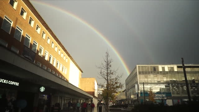 views of a rainbow over crawley town centre - west sussex stock videos & royalty-free footage
