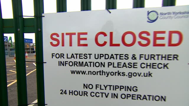 views of a recycling centre closed due to coronavirus - lock stock videos & royalty-free footage
