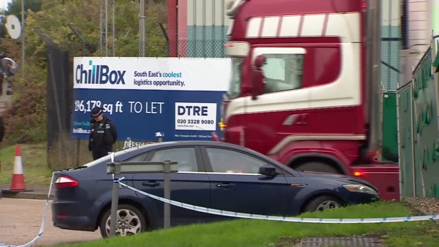 views of a refrigerated lorry recovered in grays essex that contained 39 dead bodies - grey stock videos & royalty-free footage