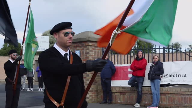 views of a saoradh march in londonderry - symbol stock videos & royalty-free footage