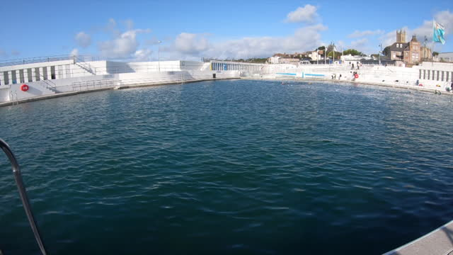 views of a seaside pool in penzance, cornwall - leisure activity stock videos & royalty-free footage