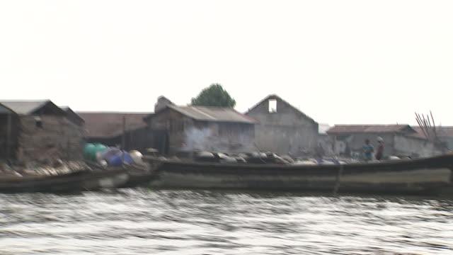 Views of a slum village on an island close to Lagos Nigeria