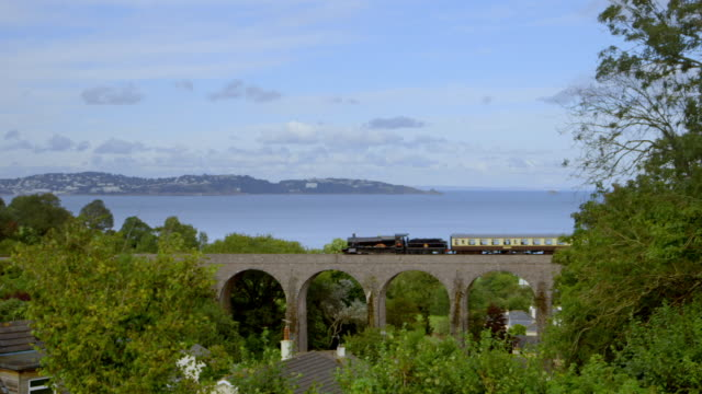 views of a steam train travelling along coast - ferrovia video stock e b–roll