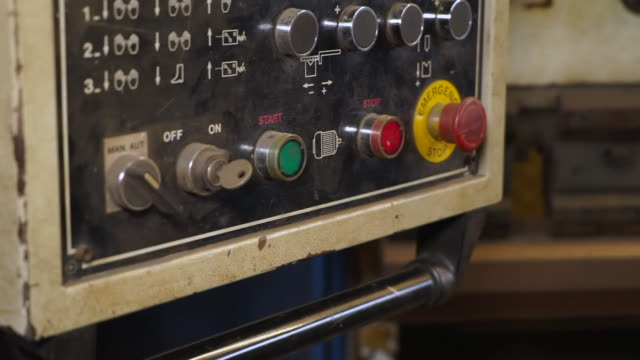 views of a steel folding machine in a workshop - alloy stock videos & royalty-free footage