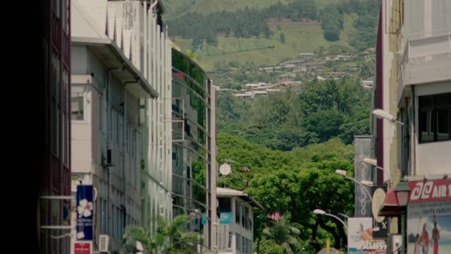 views of a town or city, tahiti, french polynesia - french polynesia stock videos & royalty-free footage