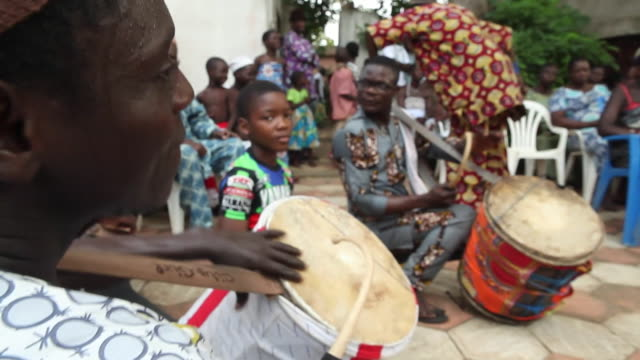views of a traditional voodoo ceremony in ouidah benin - drum percussion instrument stock videos & royalty-free footage
