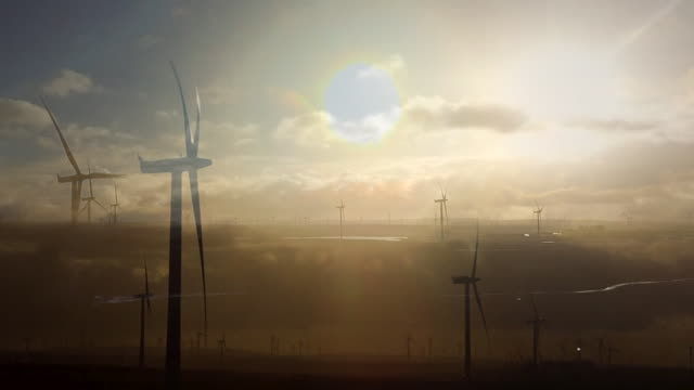 views of a wind farm in glasgow - propeller stock videos & royalty-free footage
