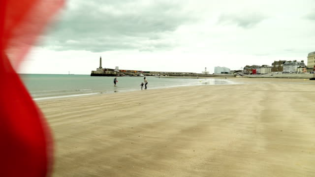 views of a windy beach in margate - lifeguard chair stock videos & royalty-free footage