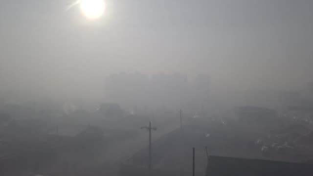 views of air pollution in ulaanbaatar capital of mongolia - smoke physical structure stock videos & royalty-free footage