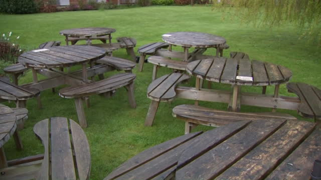 views of an empty beer garden - wood material stock videos & royalty-free footage