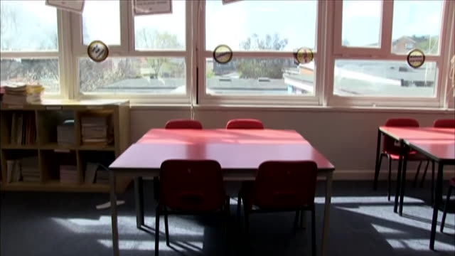 views of an empty classroom during the coronavirus lockdown - table stock videos & royalty-free footage