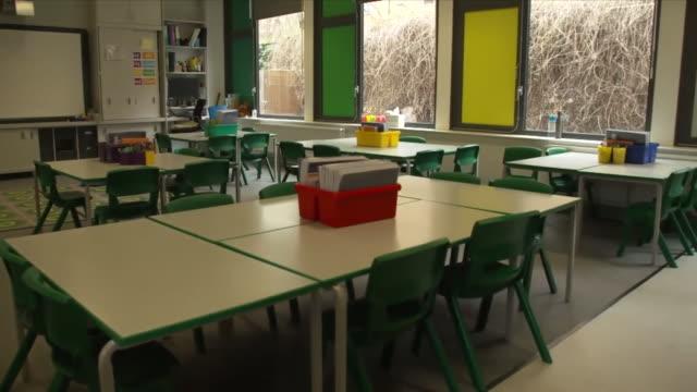 "views of an empty school classroom during coronavirus lockdown - ""bbc news"" stock videos & royalty-free footage"