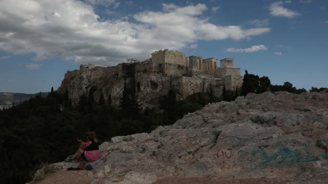 views of ancient buildings in athens, greece on friday, may 1, 2020. - ancient greece stock videos & royalty-free footage
