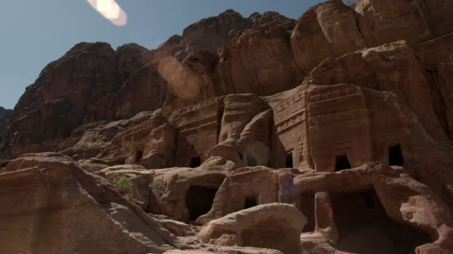 views of ancient city of petra, jordan - cliff dwelling stock videos & royalty-free footage