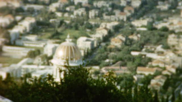 views of bahai temple / views of haifa and port / touring city / craftsman at work / bahai temple on mount carmel on may 01 1962 in haifa israel - haifa stock videos and b-roll footage