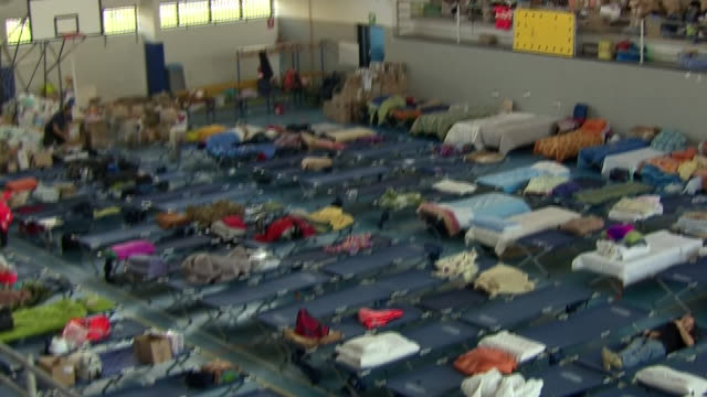 Views of beds and clothes at a shelter for earthquake victims in Amatrice Italy