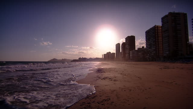 views of benidorm during the coronavirus lockdown - inquadratura fissa video stock e b–roll