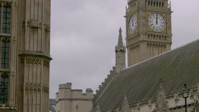 views of big ben over roof of houses of parliament - general view stock videos & royalty-free footage