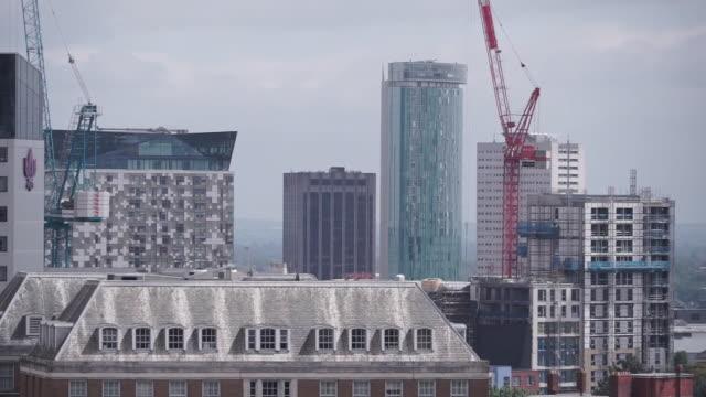 views of birmingham city centre - office block exterior stock videos & royalty-free footage
