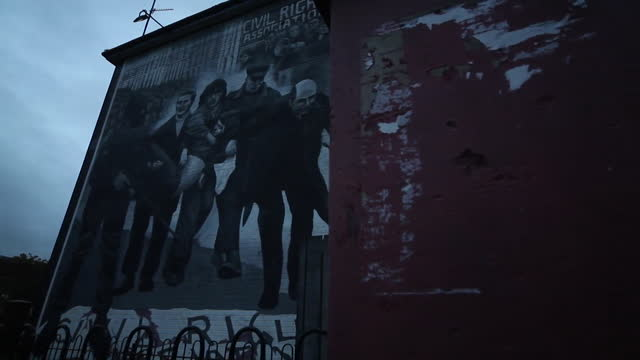 views of bloody sunday murals in derry - sunday stock videos & royalty-free footage
