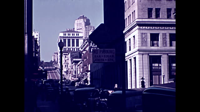 views of california street san francisco looking up towards nob hill 1937 - nob hill stock videos & royalty-free footage