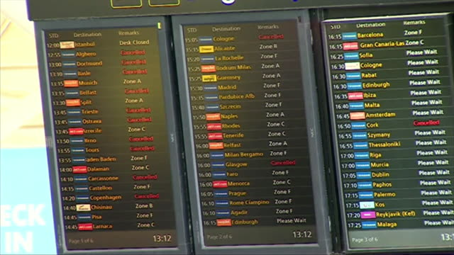 Views of cancelled FlyBMI flights on an information board at East Midlands Airport after the airline went into administration