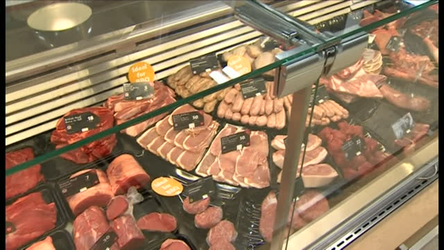 views of chilled meats in a butchers - cold temperature stock videos & royalty-free footage