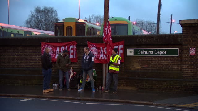 views of closed stations and picket lines during southern rail industrial action - strike industrial action stock videos & royalty-free footage