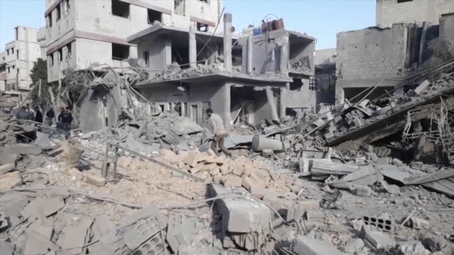 views of destruction caused by an air strike in eastern ghouta syria - syria stock videos & royalty-free footage