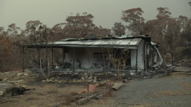 views of destruction caused by intense bush fires in the town of balmoral, new south wales - destruction stock videos & royalty-free footage