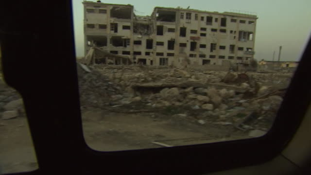 views of destruction in the former industrial zone of aleppo syria - syrien stock-videos und b-roll-filmmaterial
