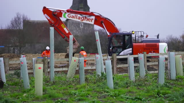 views of diggers on a construction site - boundary stock videos & royalty-free footage