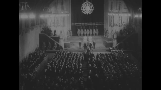 vs views of elaborate woodwork in the house of commons / expansive view of chamber with stage platform in distance / british leader of the opposition... - princess margaret 1950 stock videos and b-roll footage