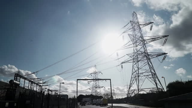 views of electricity pylons - power line stock videos & royalty-free footage