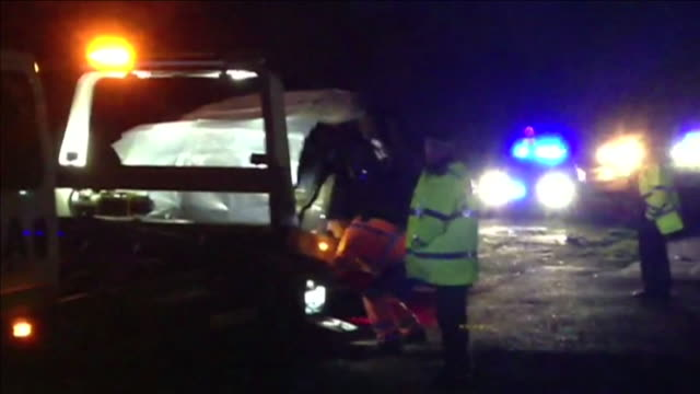 views of emergency services attending the scene of the car accident involving the duke of edinburgh two women and a baby near sandringham january 2019 - wreck stock videos & royalty-free footage