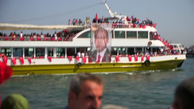 Views of ferries taking crowds of people to a rally in Istanbul in support of Turkish President Recep Tayyip Erdogan