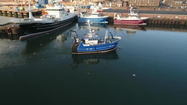 vídeos de stock, filmes e b-roll de views of fishing boats at peterhead port - indústria da pesca