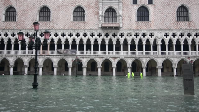 views of flooded streets in venice italy during ''acqua alta'' or high water on november 17 venice has been hit by a third major flooding in less... - venice italy stock videos & royalty-free footage