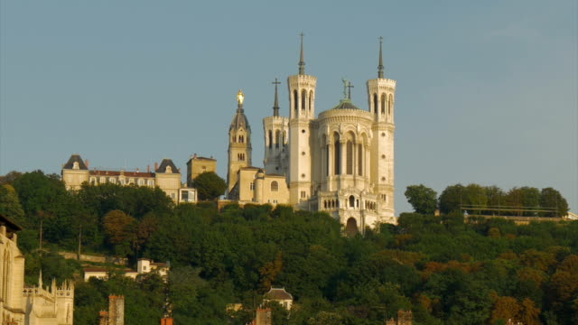 views of fourviere andvieux lyon along the river saone,zo - kanton wallis stock-videos und b-roll-filmmaterial