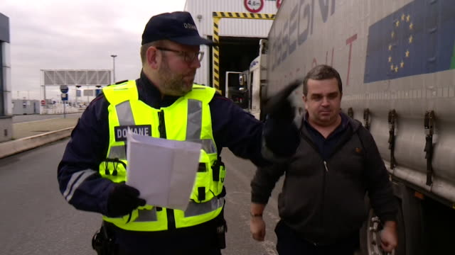 views of french customs officials performing spot checks on lorries in calais france - ferry stock videos & royalty-free footage