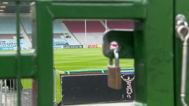 views of harlequins' twickenham stoop ground as the club prepares to return to action from coronavirus lockdown - lock stock videos & royalty-free footage