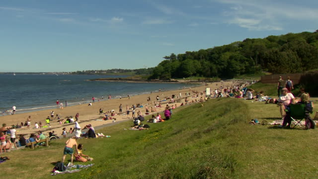 views of helen's bay beach in county down - general view stock videos & royalty-free footage