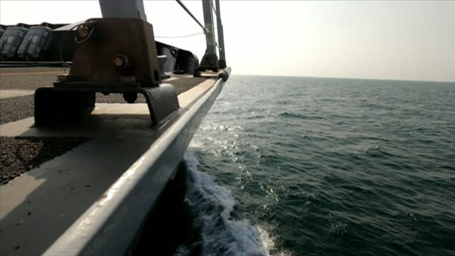 views of hms defender in the gulf - sea stock videos & royalty-free footage