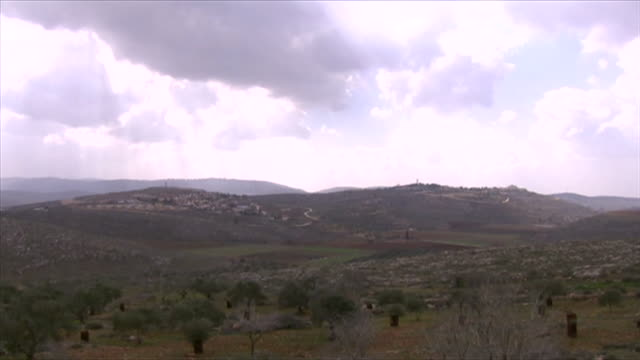 Views of Israeli settlements in Jalud in the West Bank