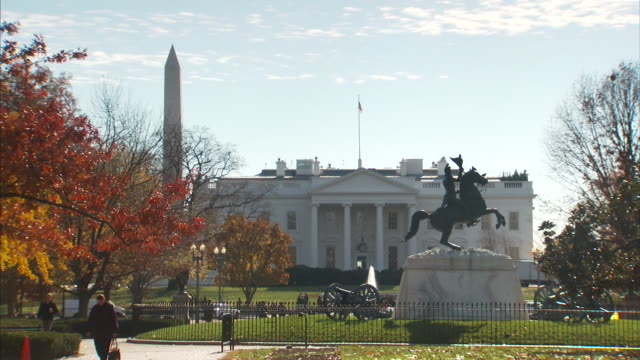 views of lafayette square and the front of the white house - capital cities stock videos & royalty-free footage