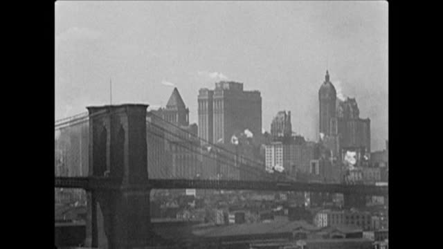 vidéos et rushes de 1921 views of lower manhattan - pont de brooklyn