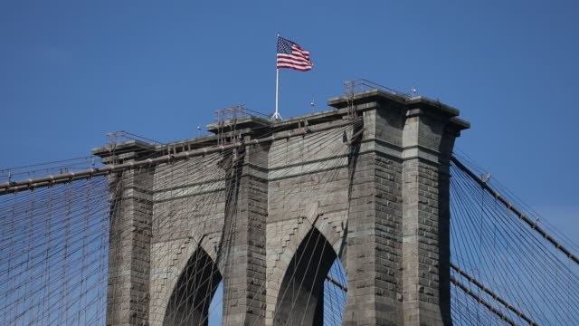 views of manhattan from dumbo in new york city new york us on friday september 20 2019 - flag blowing in the wind stock videos & royalty-free footage