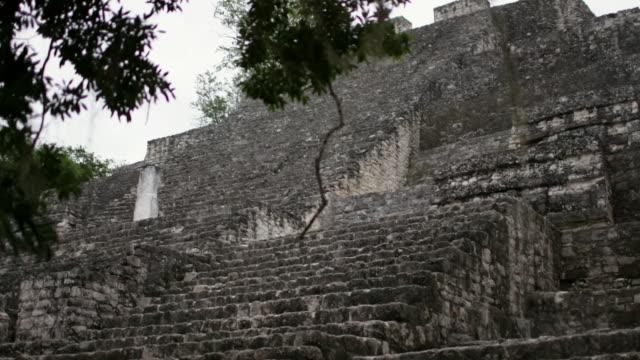views of mayan ruins at calakmul, mexico - old ruin stock videos & royalty-free footage