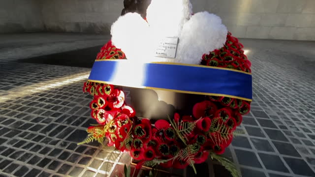 """views of memorial wreaths for victims of war in berlin - """"bbc news"""" stock-videos und b-roll-filmmaterial"""