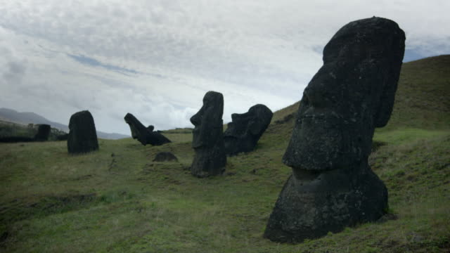 views of moai on the island of rapa nui - maui stock videos & royalty-free footage